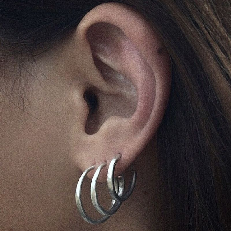 Hammered Hoop - earring  | MEHHS-SS