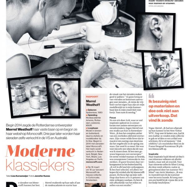 Monocrafft in AD newspaper NL