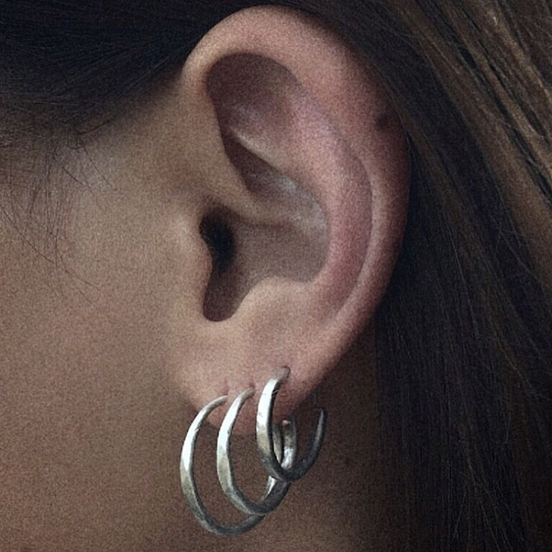 Hammered Hoop large - earring  | MEHHL-SS